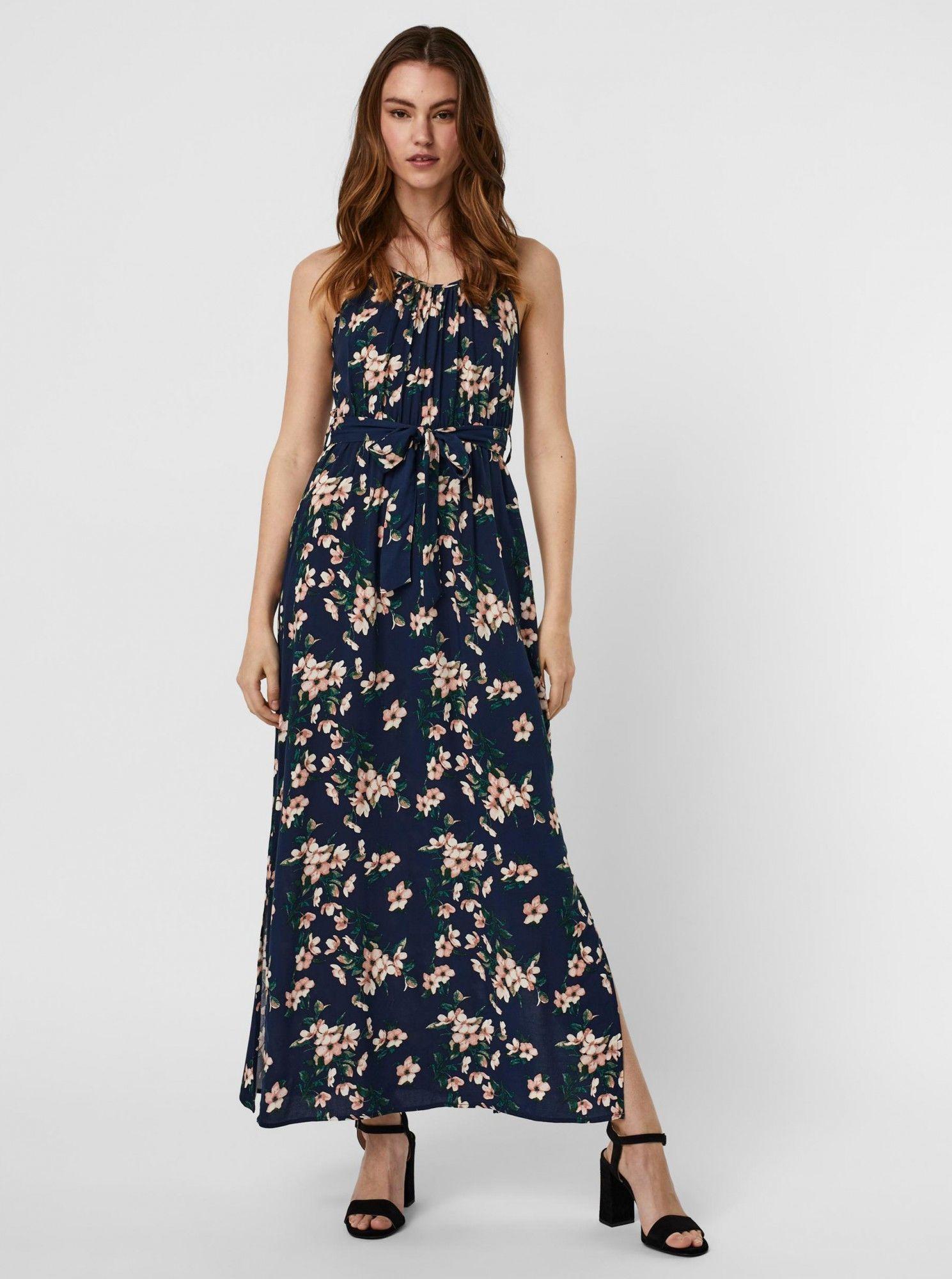 Vero Moda niebieski kwiecista maxi sukienka Simply