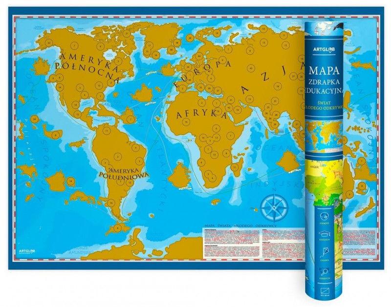 Mapa zdrapka - Świat Młodego Odkrywcy ZAKŁADKA DO KSIĄŻEK GRATIS DO KAŻDEGO ZAMÓWIENIA