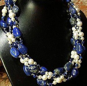 Perły Lapis Lazuli Przepiękny Naszyjnik Srebro