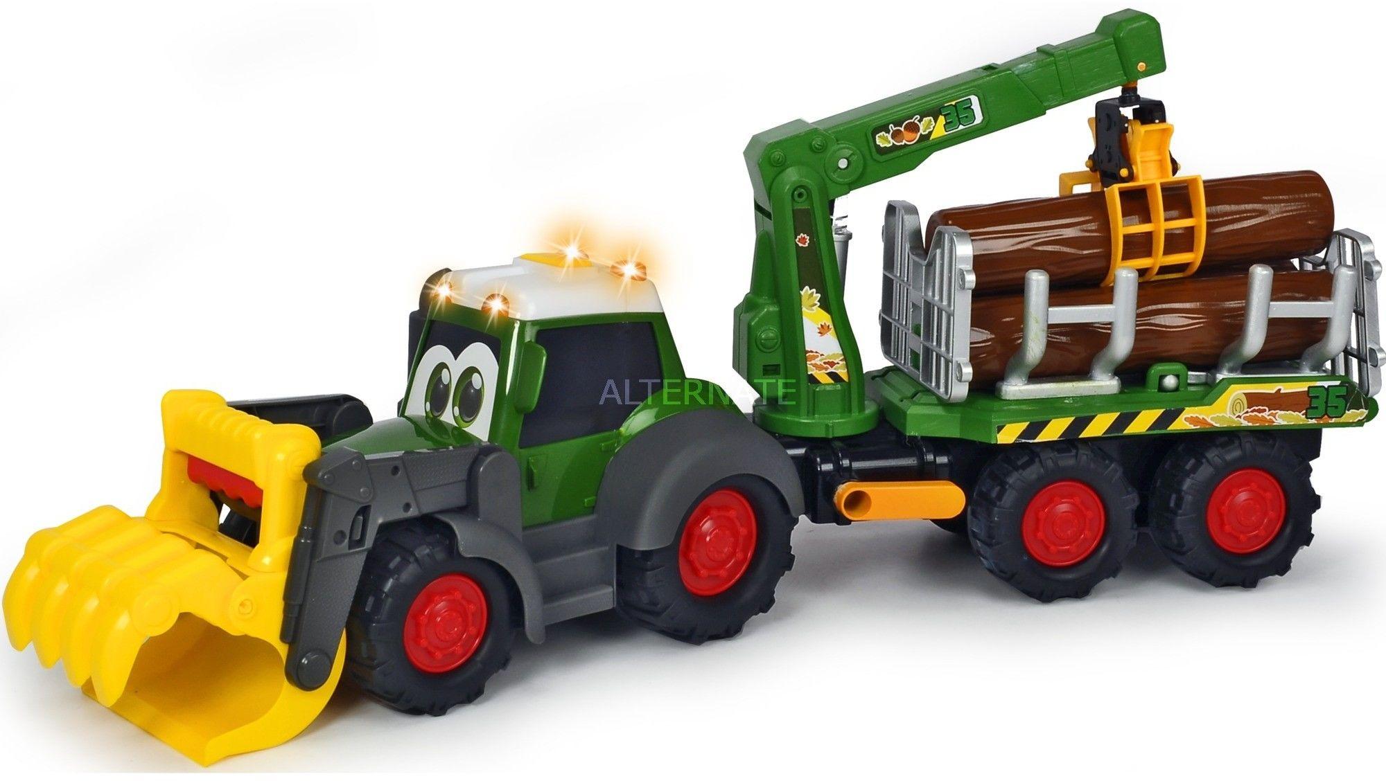 Dickie - Happy Traktor leśny Fendt z przyczepą do transportu drewna Światło Dźwięk 3819003