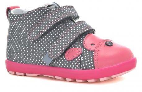 Bartek Mini First Steps 61734 V04 trzewiki skórzane, dla dziewczynek szary- róż