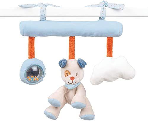 Nattou Zabawka do zawieszenia pies Jim, z grzechotką i papierem do szeleszczania, 26 x 23 x 6 cm, Jim i Bob, niebieski/beżowy/pomarańczowy
