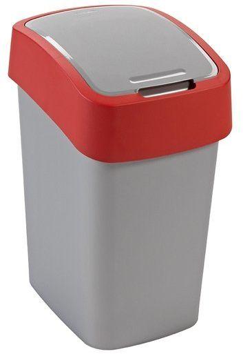 Kosz na śmieci 25L Flip Bin srebrny/czerwon