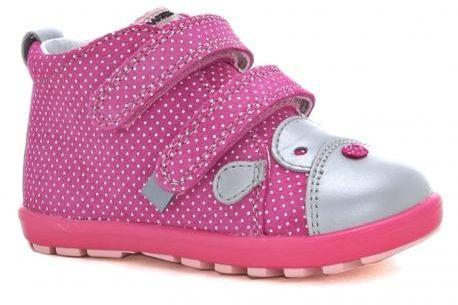 Bartek Baby Mini First Steps 61734 V03 trzewiki skórzane, dla dziewczynek róż szary