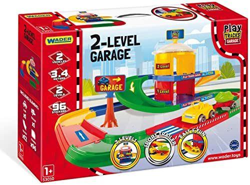 WADER 53010 Play Tracks Garage na dwóch poziomach z samochodem i 3,4 m ulicy, od 12 miesięcy
