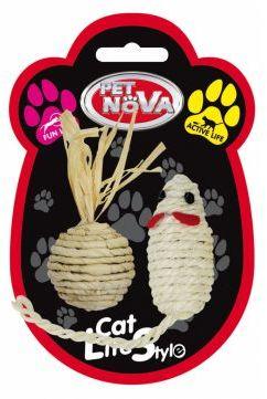 CAT LIFE STYLE Zabawka dla Kota Zestaw Myszka 7x3cm i Piłka 4cm