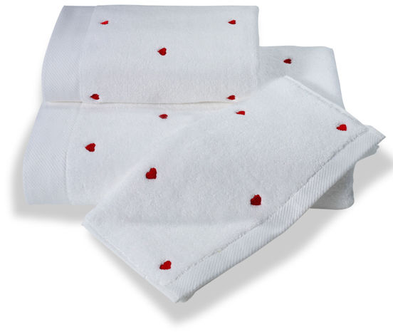 Ręcznik 50x100 cm MICRO LOVE Biały / czerwone serduszka