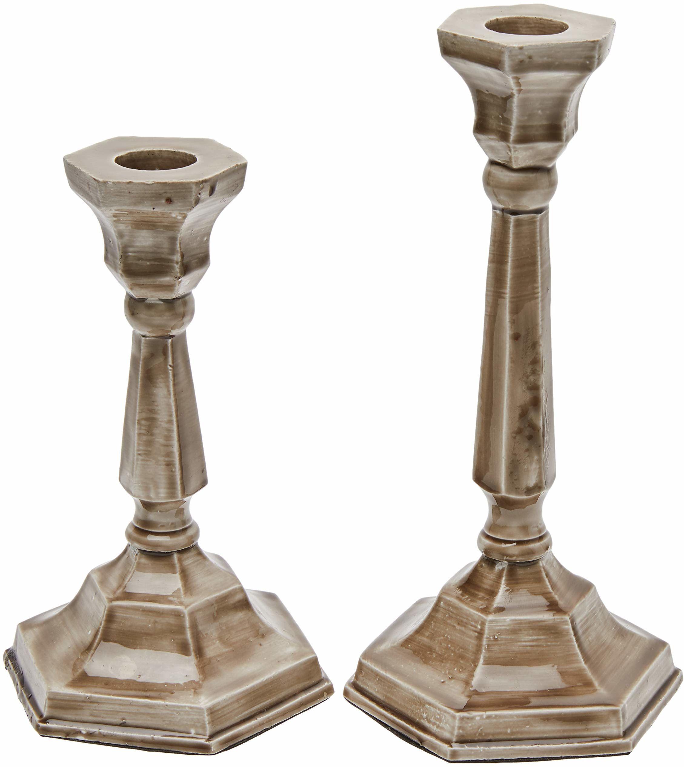 Better & Best świecznik, szary, duży, 9 x 20 cm, 9 x 16 cm, materiał: emaliowany metal, 2 sztuki