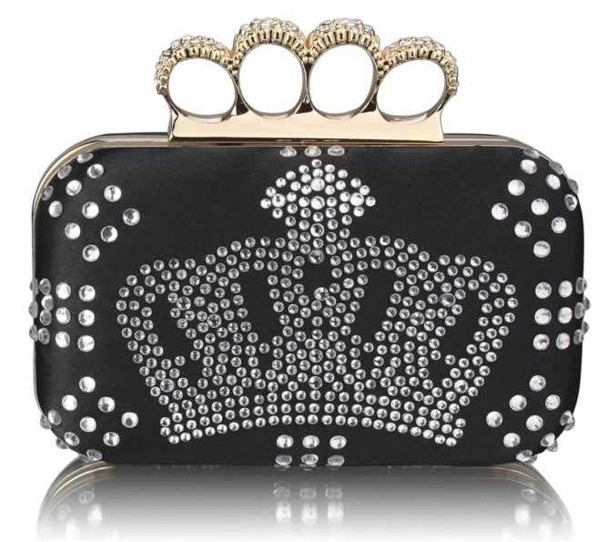 Czarna kopertówka szkatułka UK Crown Lisan
