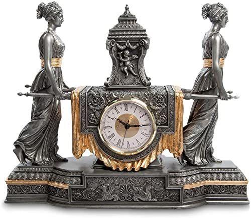 Veronese Kolekcja, ręcznie malowany zegar stołowy, 37 x 12,5 x 30,5 cm twarda żywica poliestrowa (mieszanka proszku marmuru) zegar biurkowy