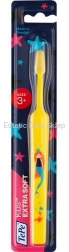 TePe Kids Extra Soft  bardzo miękka szczoteczka manualna dla dzieci w wieku 3 + z obrazkami