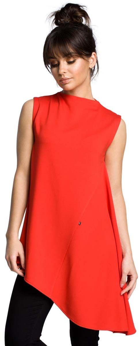 Czerwona dzianinowa asymetryczna bluzka bez rękawów