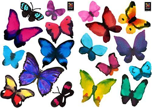PLAGE 157124 naklejki ścienne kolorowe motyle, 2 arkusze, 29,7 x 21 cm