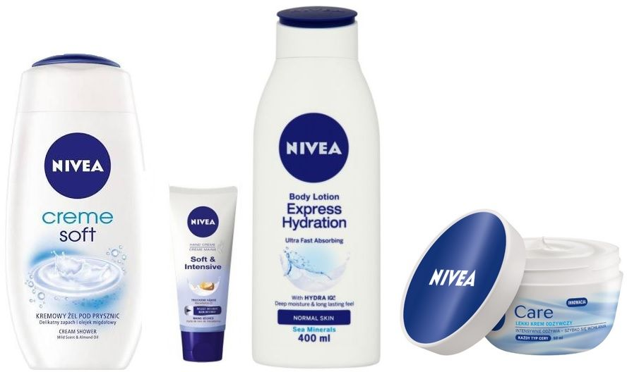 Nivea Glucks Creme soft żel do kąpieli 250ml + Soft & Intensive krem do rąk 100ml + Balsam do ciała 250ml + krem do twarzy - 50ml Do każdego zamówienia upominek gratis.