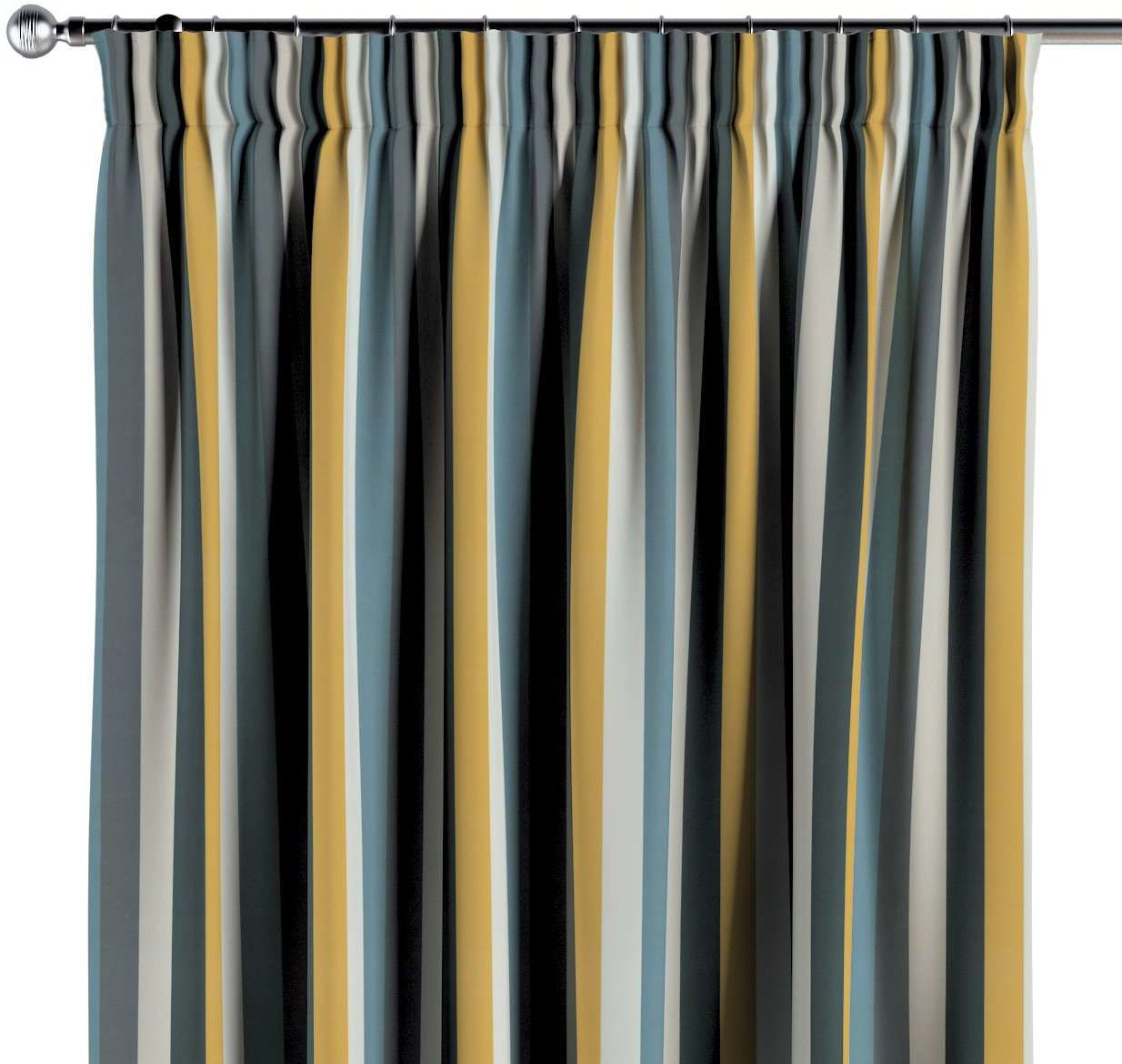 Zasłona na taśmie marszczącej 1 szt., kolorowe pasy w niebiesko-żółto-szarej kolorystyce, 1szt 130  260 cm, Vintage 70''s