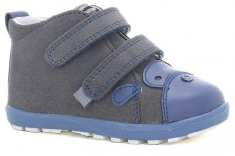 Bartek Mini First Steps 61734 V10 trzewiki skórzane, chłopięce szaro- niebieskie