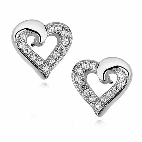 Delikatne rodowane srebrne kolczyki serca serduszka z cyrkoniami srebro 925 Z1064