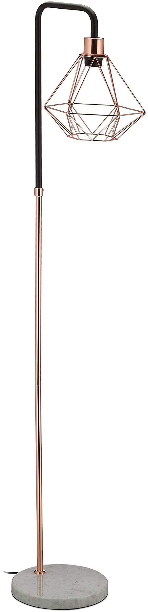 Relaxdays Lampa stojąca, klosz w kształcie diamentu, marmurowa nóżka, salon, E27, wys. x szer. x głęb. 149 x 24,5 x 29 cm, miedź/czarny/biały, stal