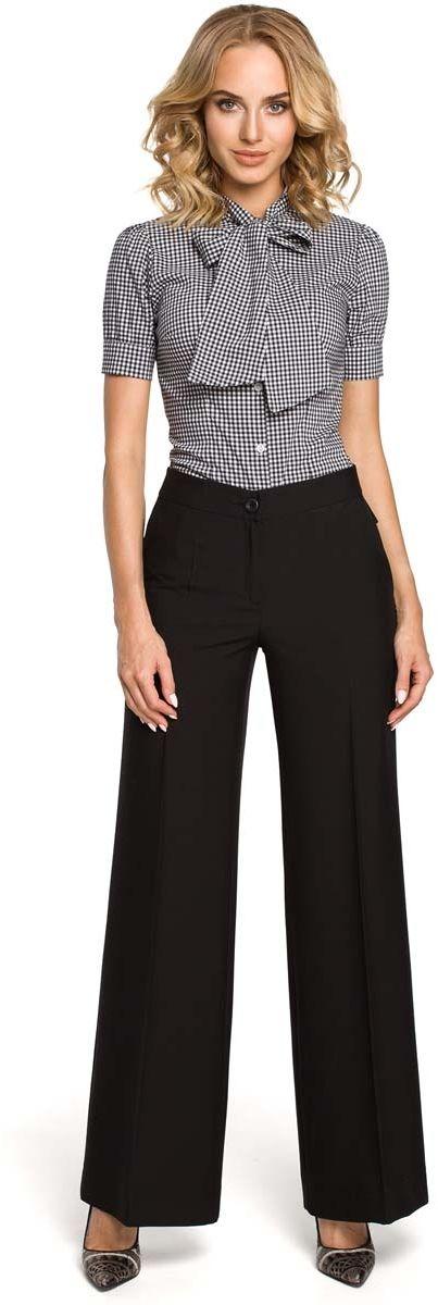 Czarne spodnie eleganckie szerokie w kant