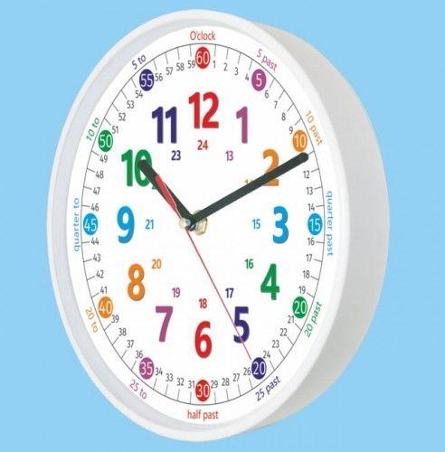 Zegar biały do nauki odczytu czasu ENG