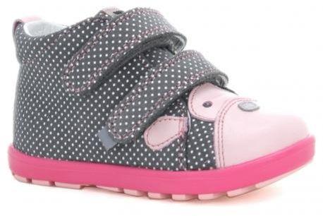 Bartek Mini First Steps 61734 V11 trzewiki skórzane, dla dziewczynek szary- róż