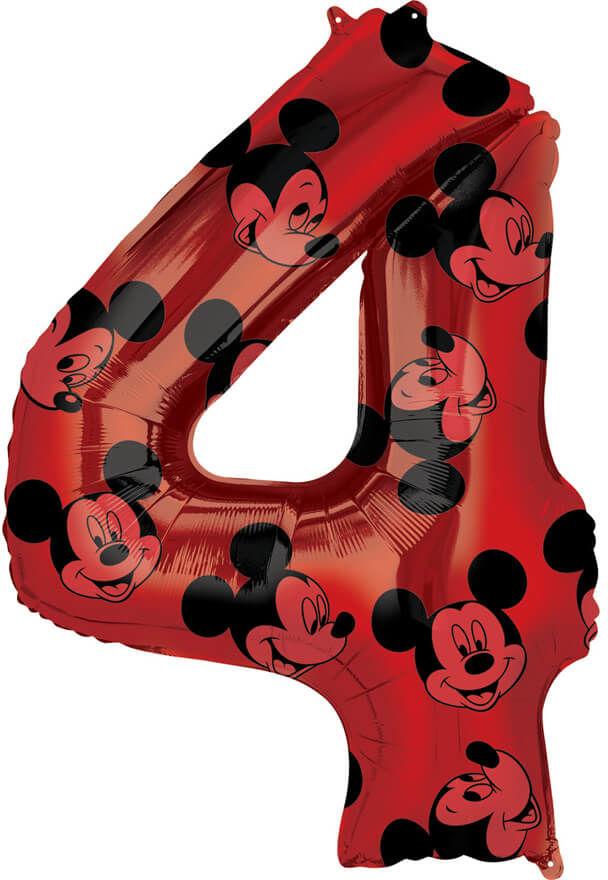 Balon foliowy cyfra 4 Myszka Mickey - 45 cm x 66 cm - 1 szt.