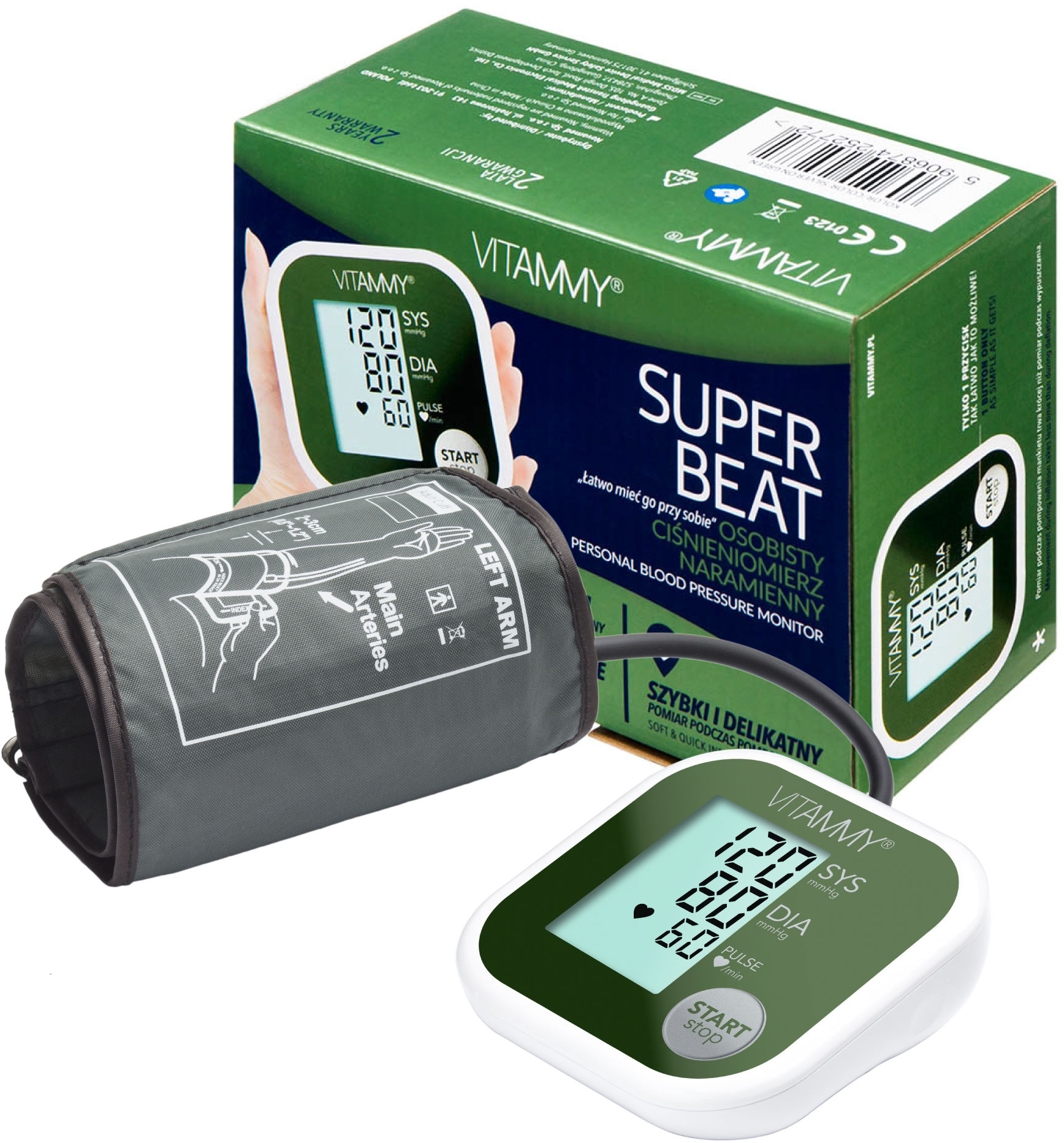 VITAMMY Super Beat Silver on Green Ciśnieniomierz naramienny 22-42 cm