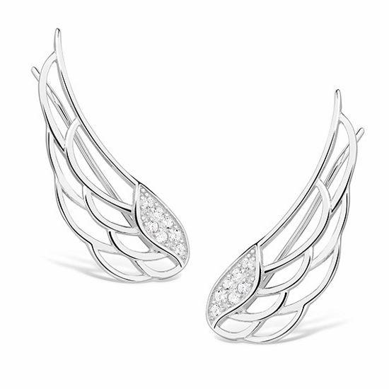Eleganckie rodowane srebrne kolczyki nausznice skrzydła skrzydełka z cyrkoniami srebro 925 Z1438E