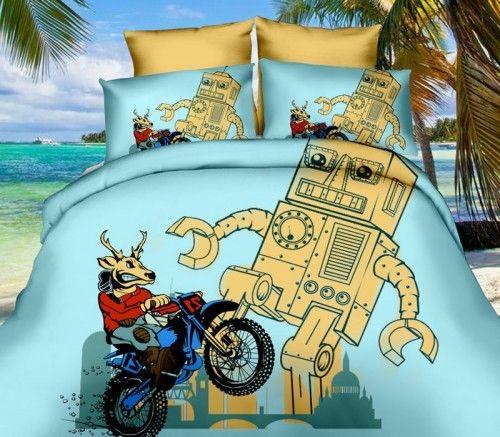 Pościel 3D Animowany robot i motor 160X200 258-10 3 cz.