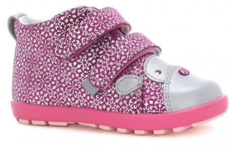 Bartek Mini First Steps 61734 V02 trzewiki skórzane, dla dziewczynek różowo szare