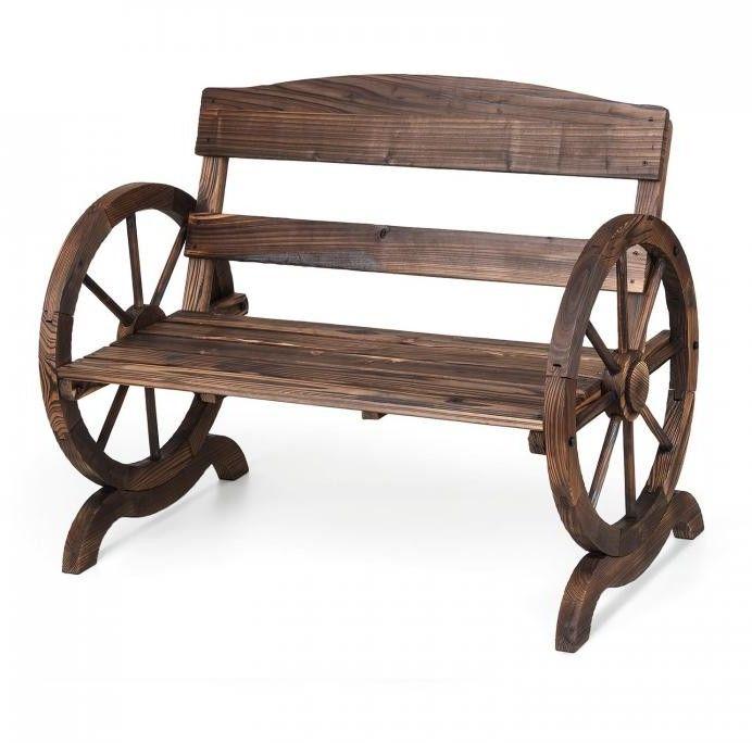 Blumfeldt Ammergau ławka ogrodowa ławka drewniana ławka na kołach 108x65x86cm opalane drewno jodłowe