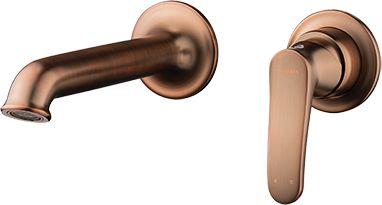Bateria umywalkowa ścienna podtynkowa część podtynkowa i natynkowa,miedź antyczna ART DECO