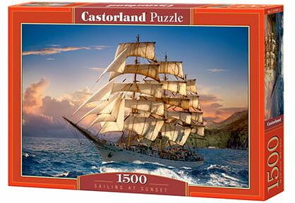 Puzzle 1500 Zachód słońca na żaglach CASTOR