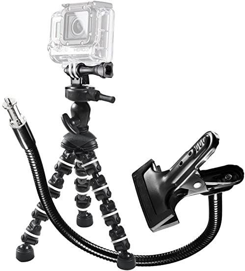 Mantona Zestaw GoPro Multiflex 16,5 wraz z zaciskiem z łabędzią szyją/statywem Multiflex