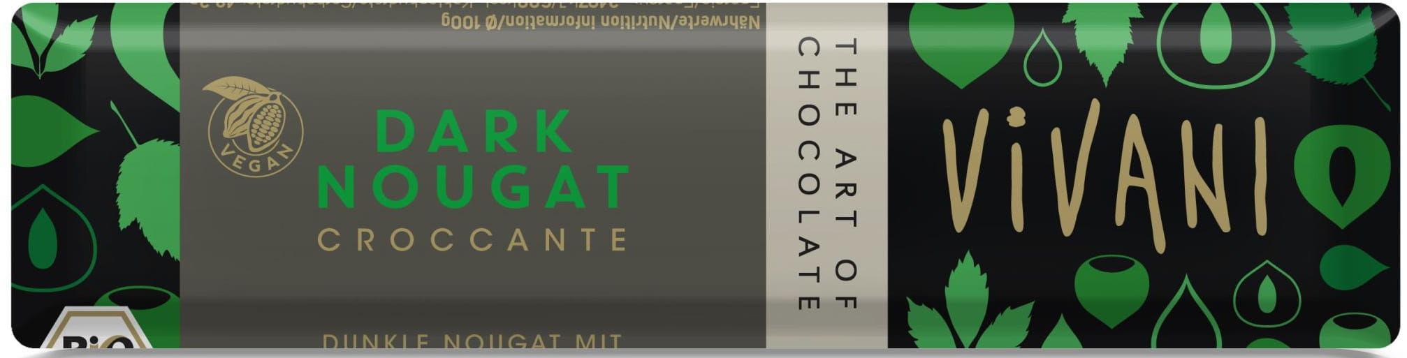 Baton croccante czekolada gorzka nugatowa bio 35 g - vivani