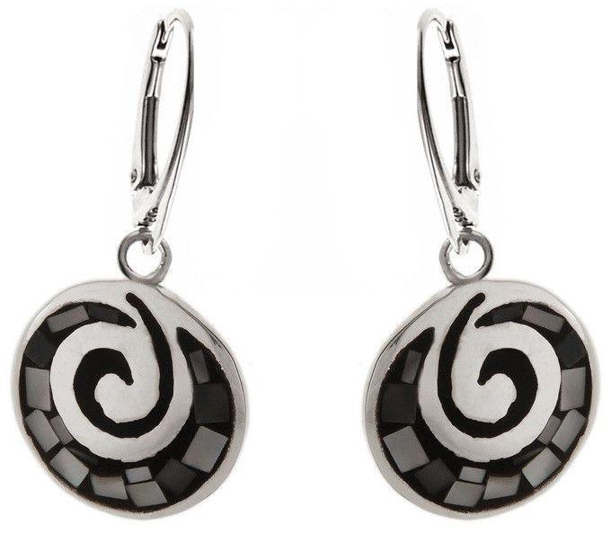Eleganckie wiszące okrągłe srebrne kolczyki ciemna masa perłowa srebro 925 K1234