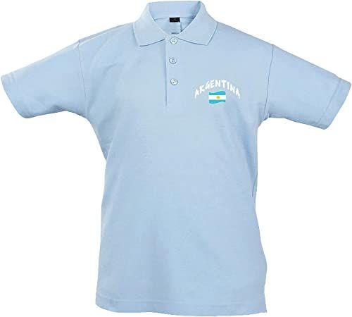 Supportershop Unisex dziecięca koszulka polo Rugby Enfant Argentine Rugby dla dzieci, Argentyna niebieski niebieski FR : M (Taille Fabricant : 6 Jahre)