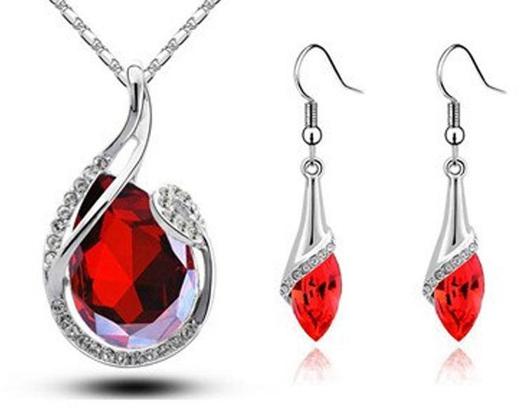 Komplet biżuterii rubinowe migdały krople
