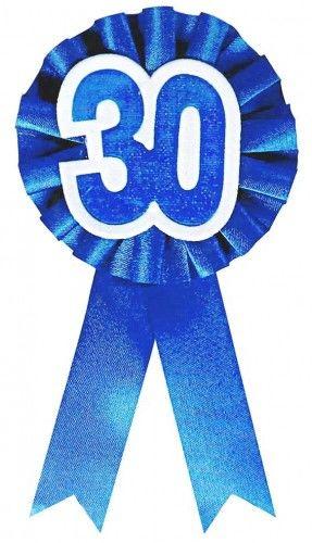 """Kotylion na 30 urodziny """"30"""" niebieski"""