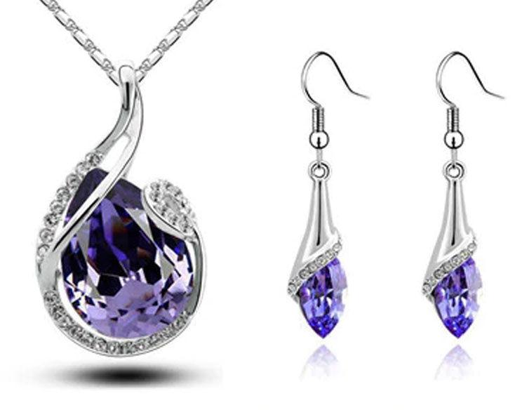 Komplet biżuterii fioletowe migdały cyrkonie