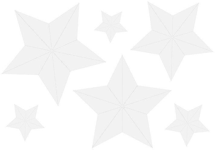 Zawieszki Gwiazdy białe 6 sztuk DWG1-008