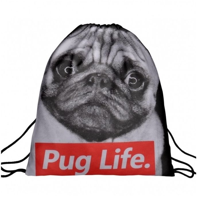 Worek plecak z nadrukiem Pug Life A4