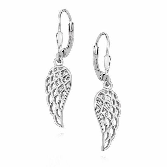 Eleganckie rodowane wiszące srebrne kolczyki celebrytka skrzydła skrzydełka wings cyrkonie srebro 925 Z1450D