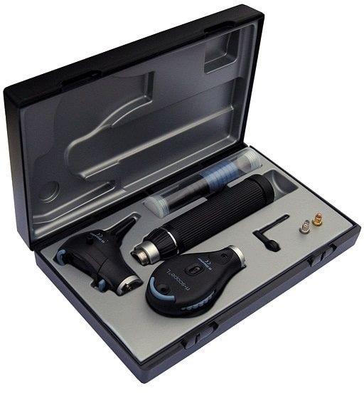 Riester ri-scope zestaw otoskop L3 LED 3,5 V + oftalmoskop L2 LED 3,5 V rękojeść bateryjna C z akumulatorem i ładowarką