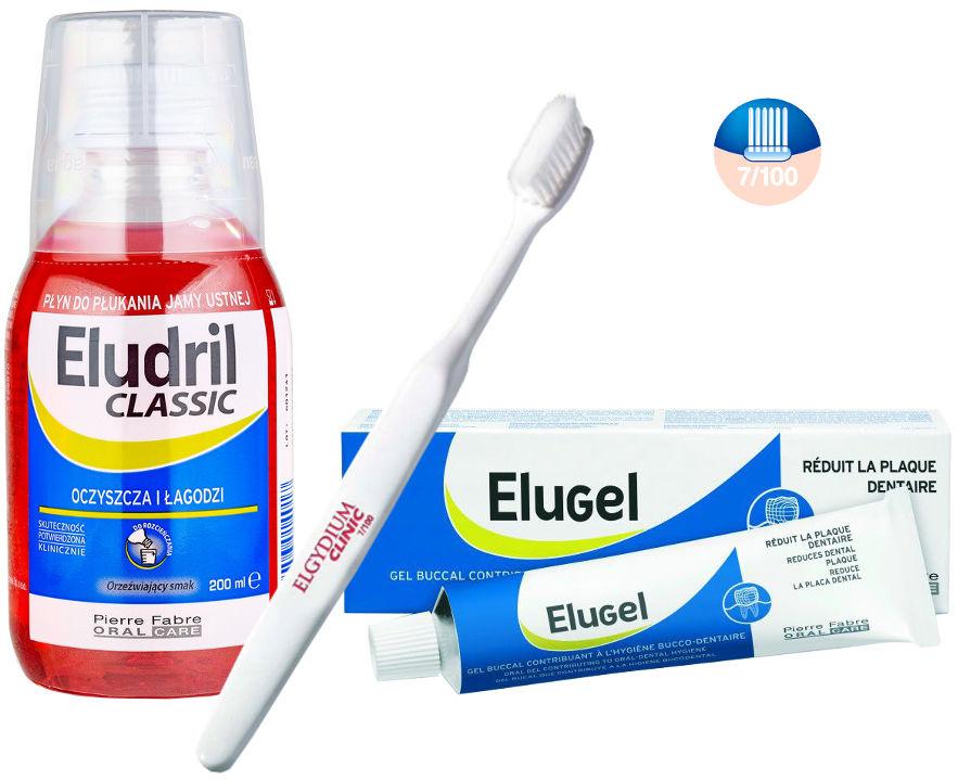 ELUDRIL zestaw pozabiegowy zawiera płyn Eludril + żel Elugel + szczoteczkę pozabiegową