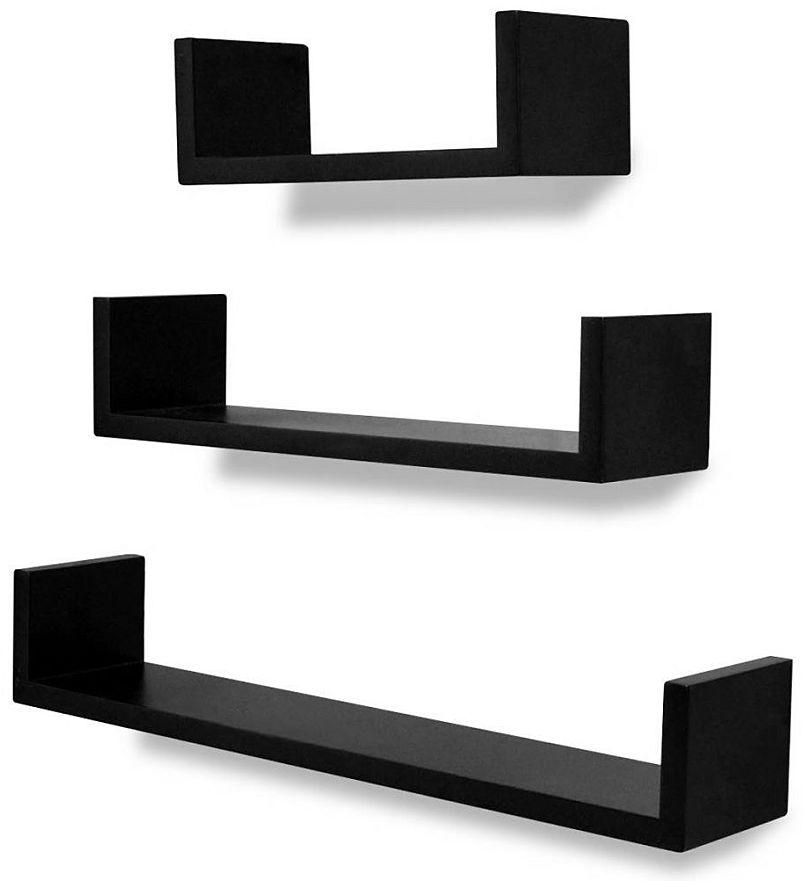 Zestaw czarnych półek ściennych - Baffic 2X
