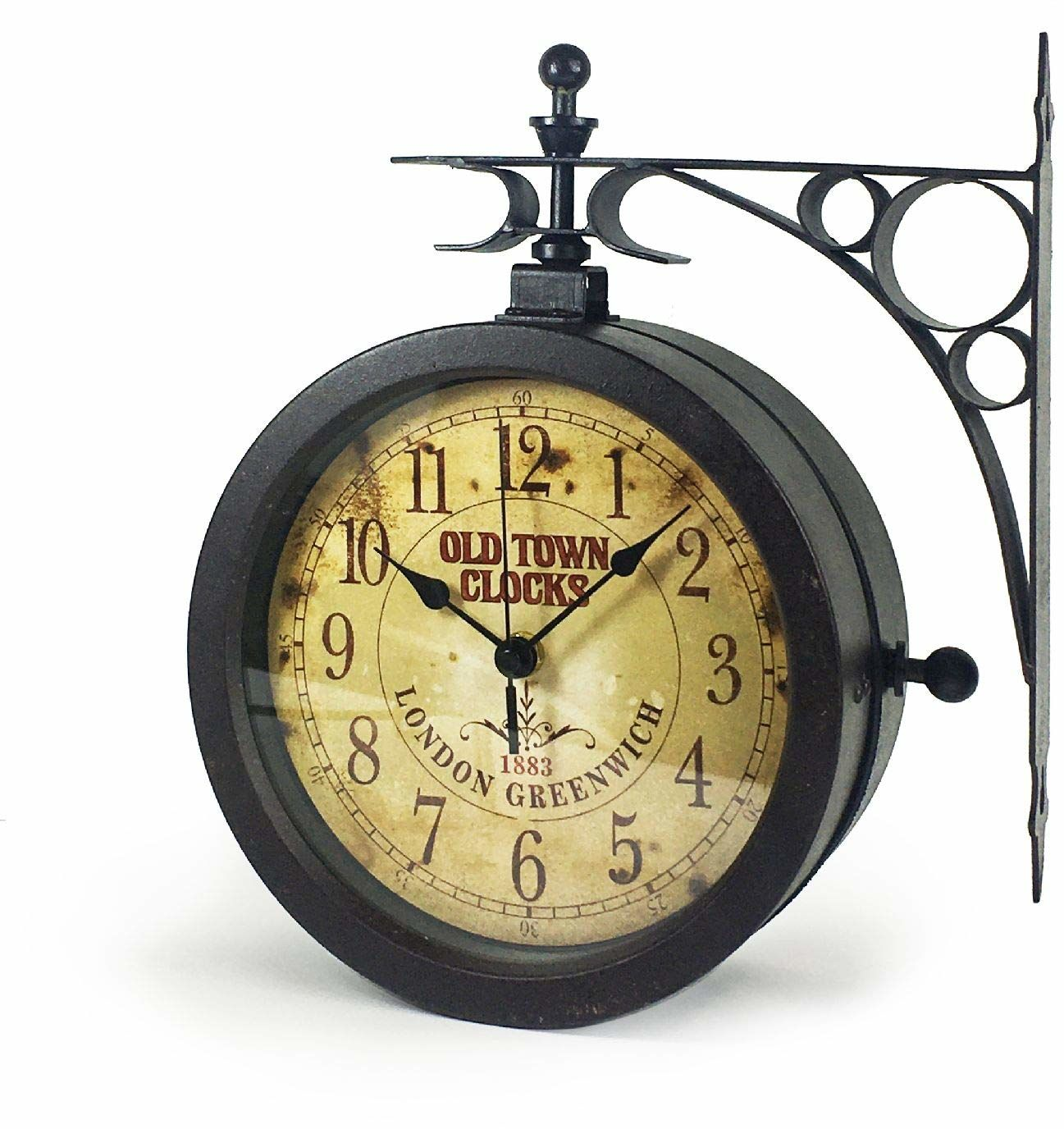 TFA Dostmann nostalgiczny zegar ścienny i termometr, zegar ogrodowy, nadaje się do użytku na zewnątrz, dwustronny, 60.3011