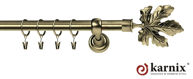 Karnisz Metalowy Rzymski pojedynczy 16mm Klon antyk mosiądz