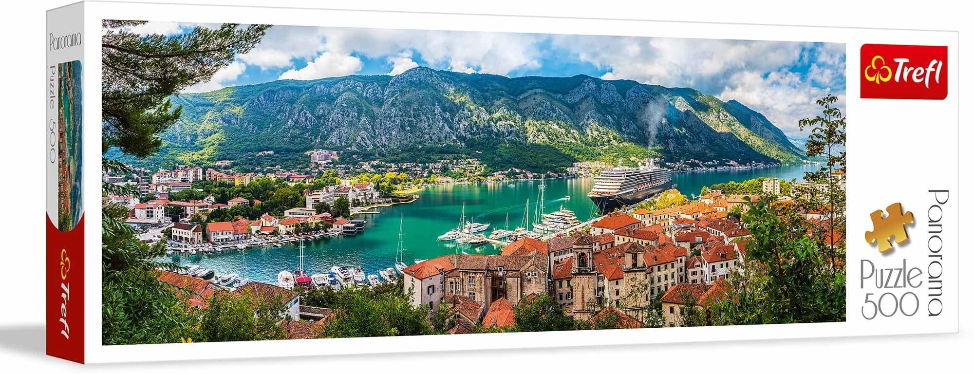 Trefl Kotor, Czarnogóra Puzzle Panoramiczne 500 Elementów o Wysokiej Jakości Nadruku, od 10 lat