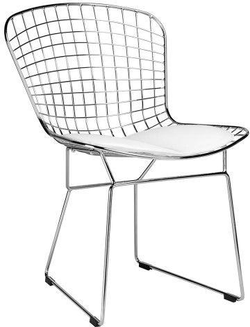 Krzesło Net Soft chrom. biała poduszka